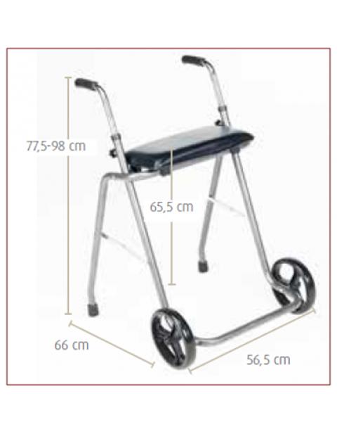 Andarilho de aço com rodas e assento