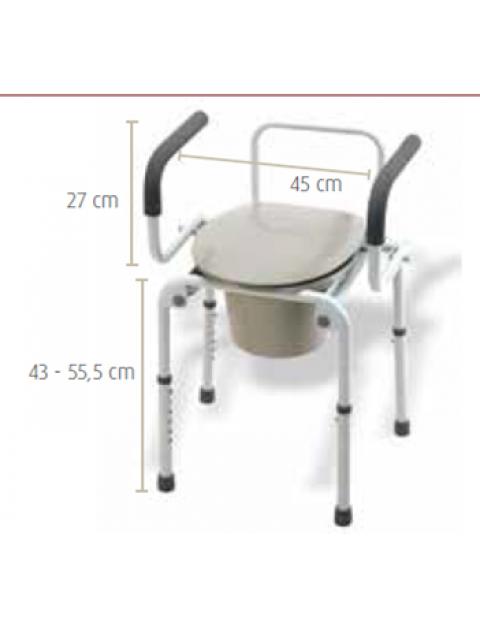 Cadeira sanitária com Apoios de Braços Rebativeis
